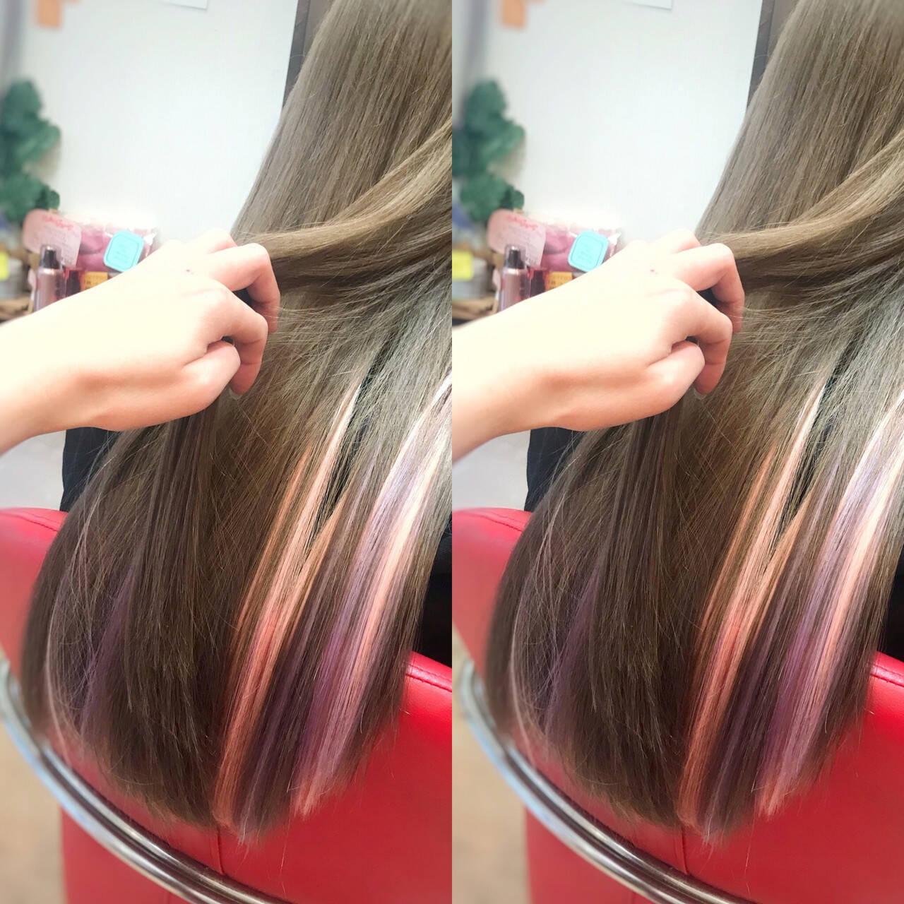 ハイトーン ガーリー エクステ インナーカラーヘアスタイルや髪型の写真・画像
