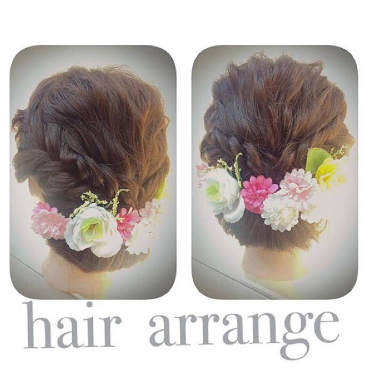 セミロング 編み込み 簡単ヘアアレンジ ヘアアレンジヘアスタイルや髪型の写真・画像