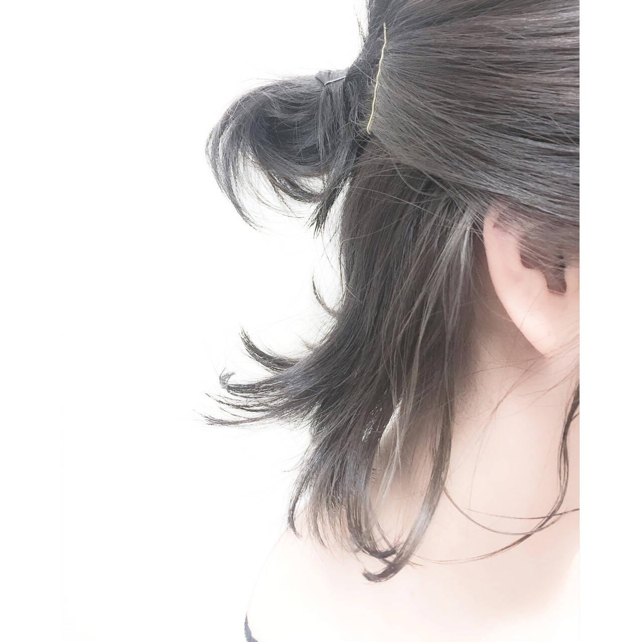 アッシュ ボブ 暗髪 ストリートヘアスタイルや髪型の写真・画像