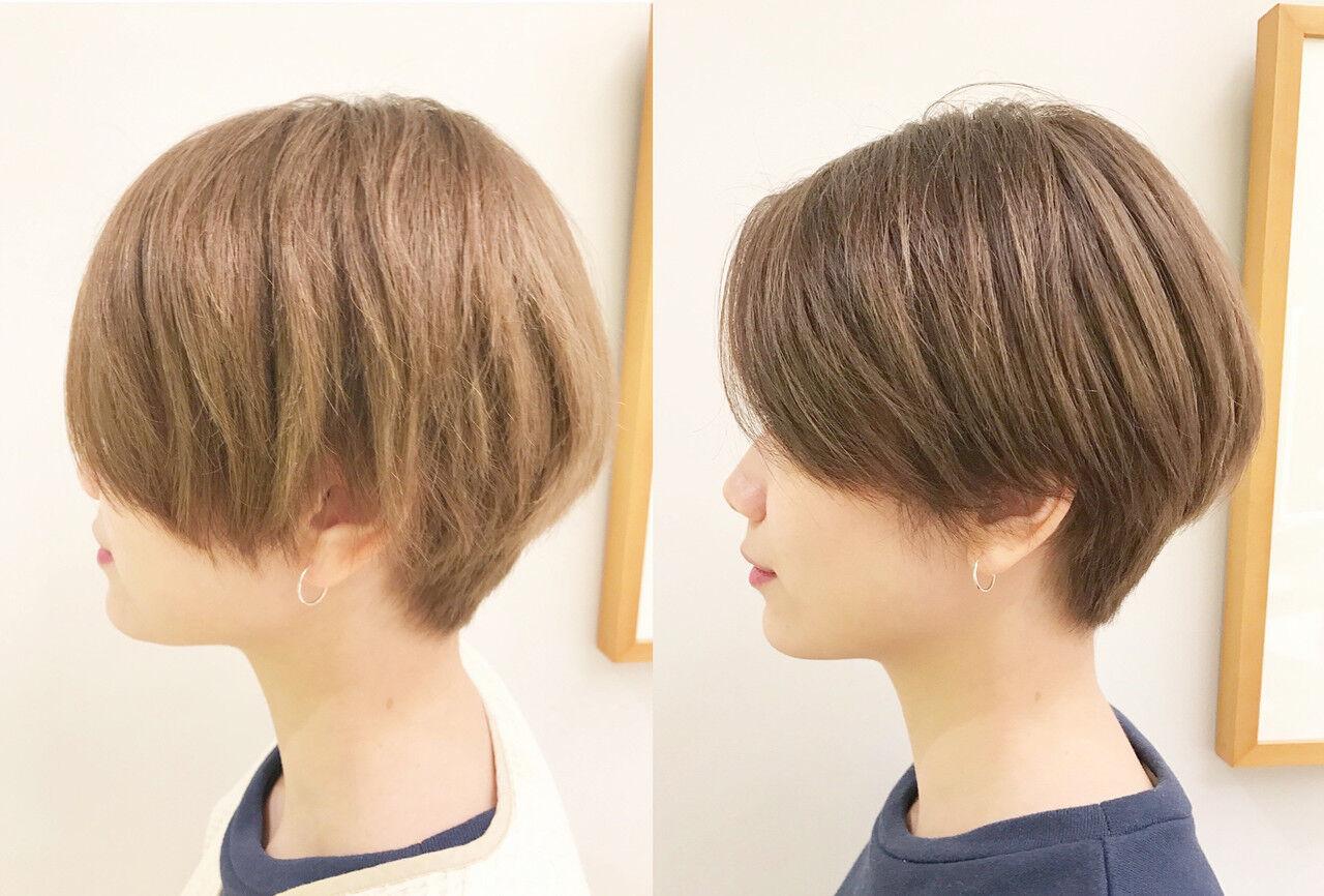ショートボブ ハンサムショート パーマ ショートヘアスタイルや髪型の写真・画像
