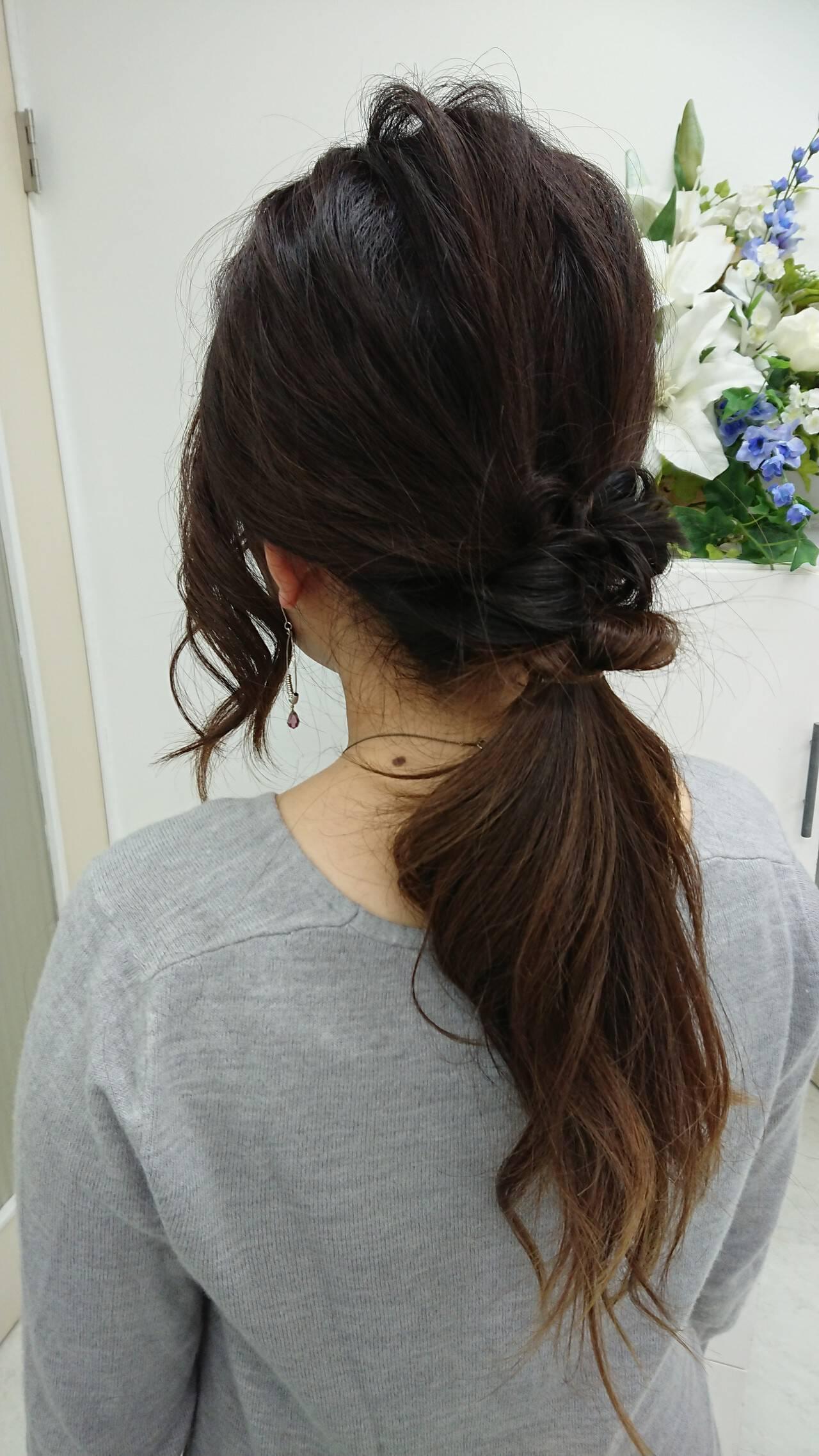 デート セミロング ナチュラル 簡単ヘアアレンジヘアスタイルや髪型の写真・画像