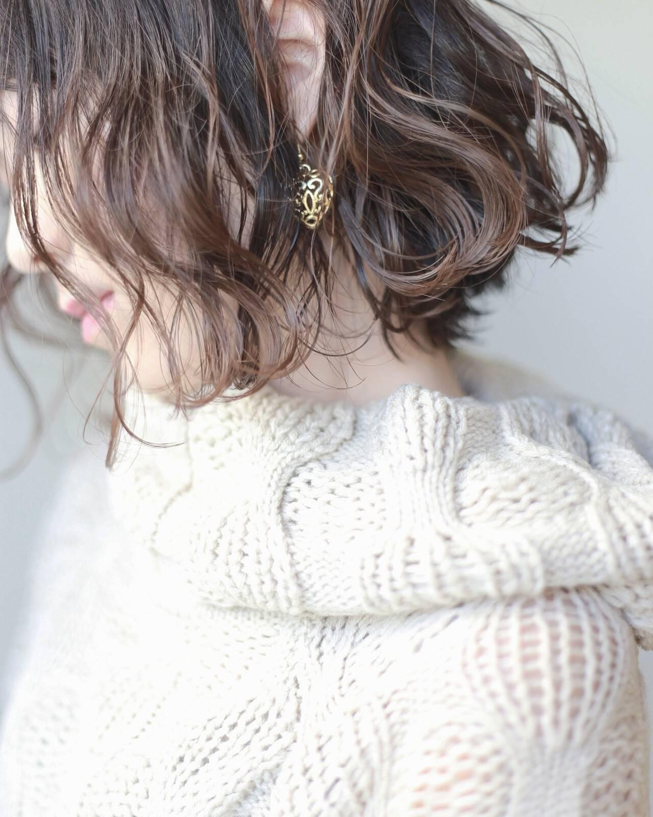 ミルクティーベージュ ボブ 透明感 ナチュラルヘアスタイルや髪型の写真・画像