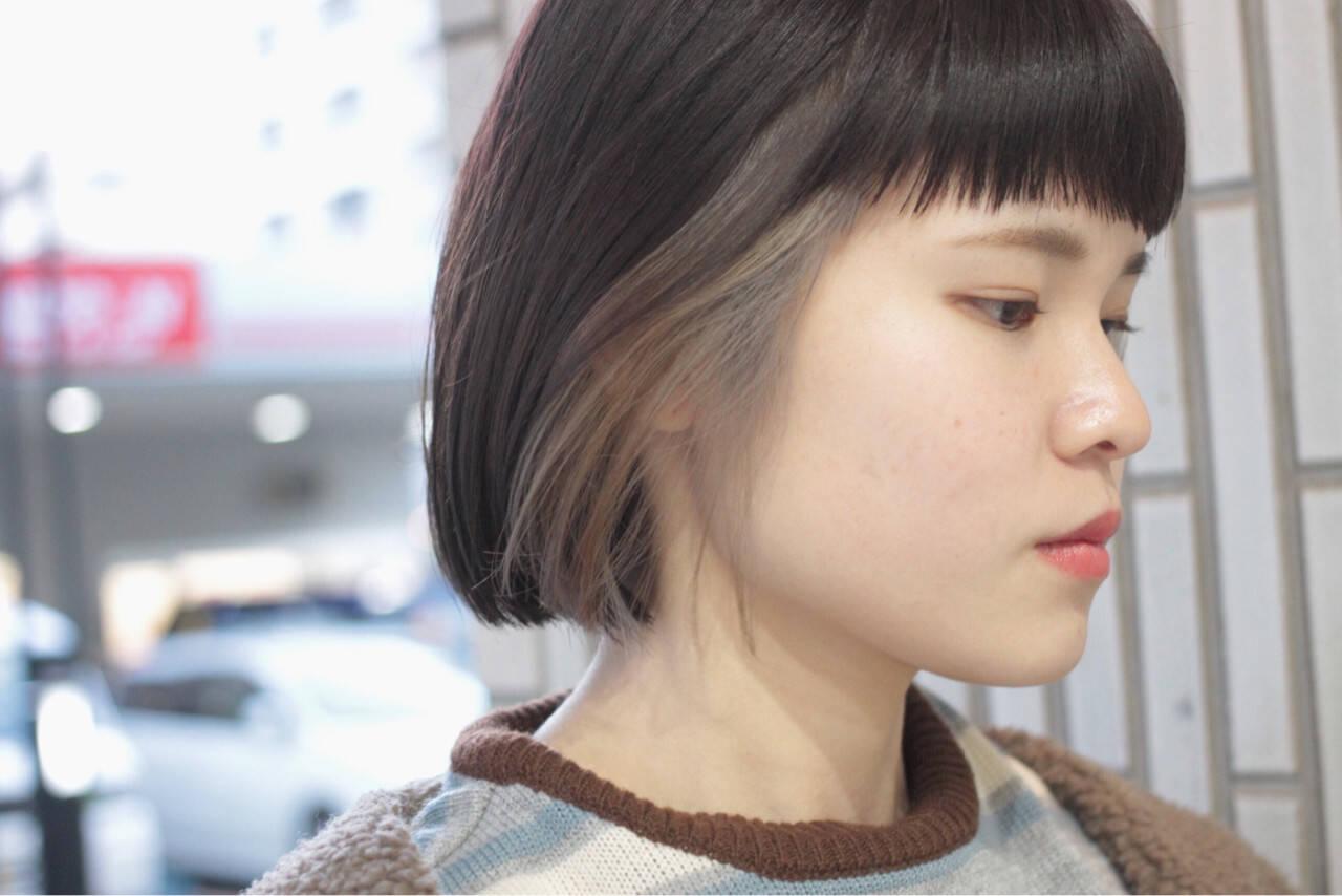 アッシュグレージュ ヘアワックス インナーカラー モードヘアスタイルや髪型の写真・画像