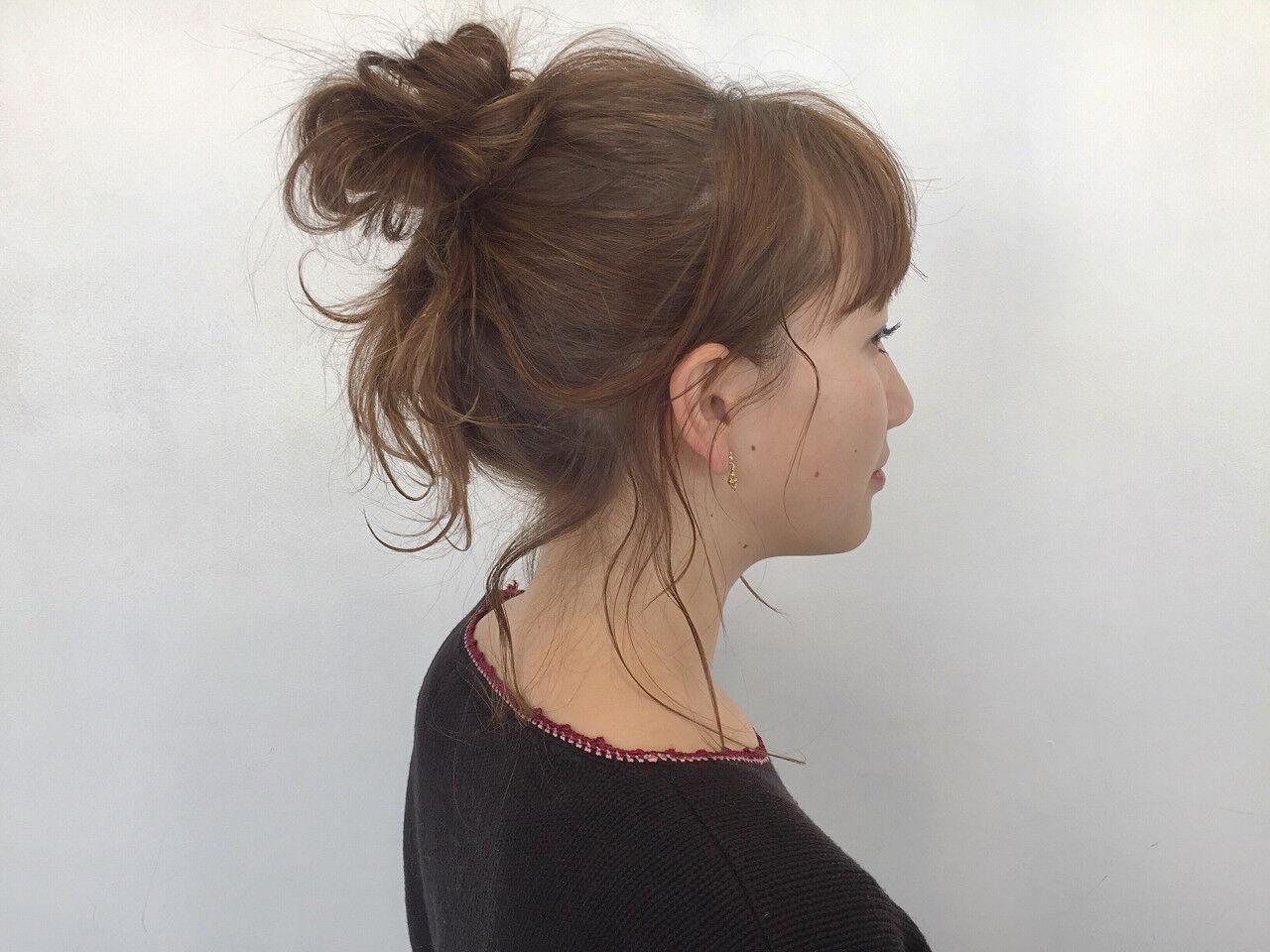 ラフ 簡単ヘアアレンジ 透明感 セミロングヘアスタイルや髪型の写真・画像