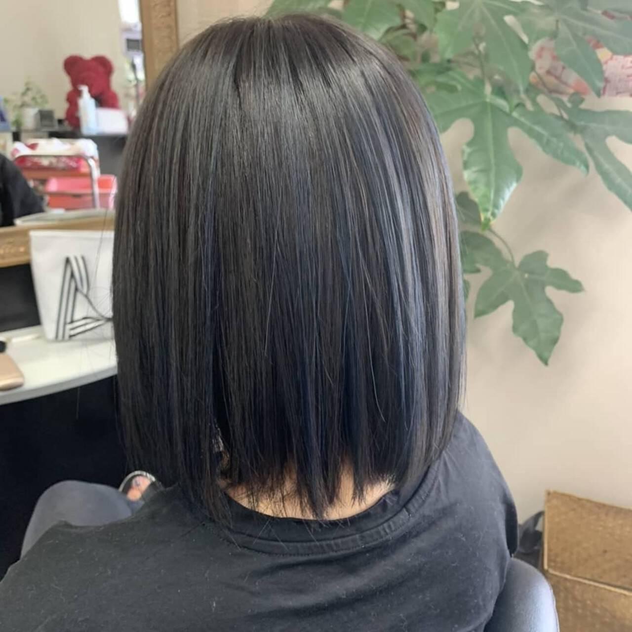 ハイライト モード ボブ アッシュグレーヘアスタイルや髪型の写真・画像