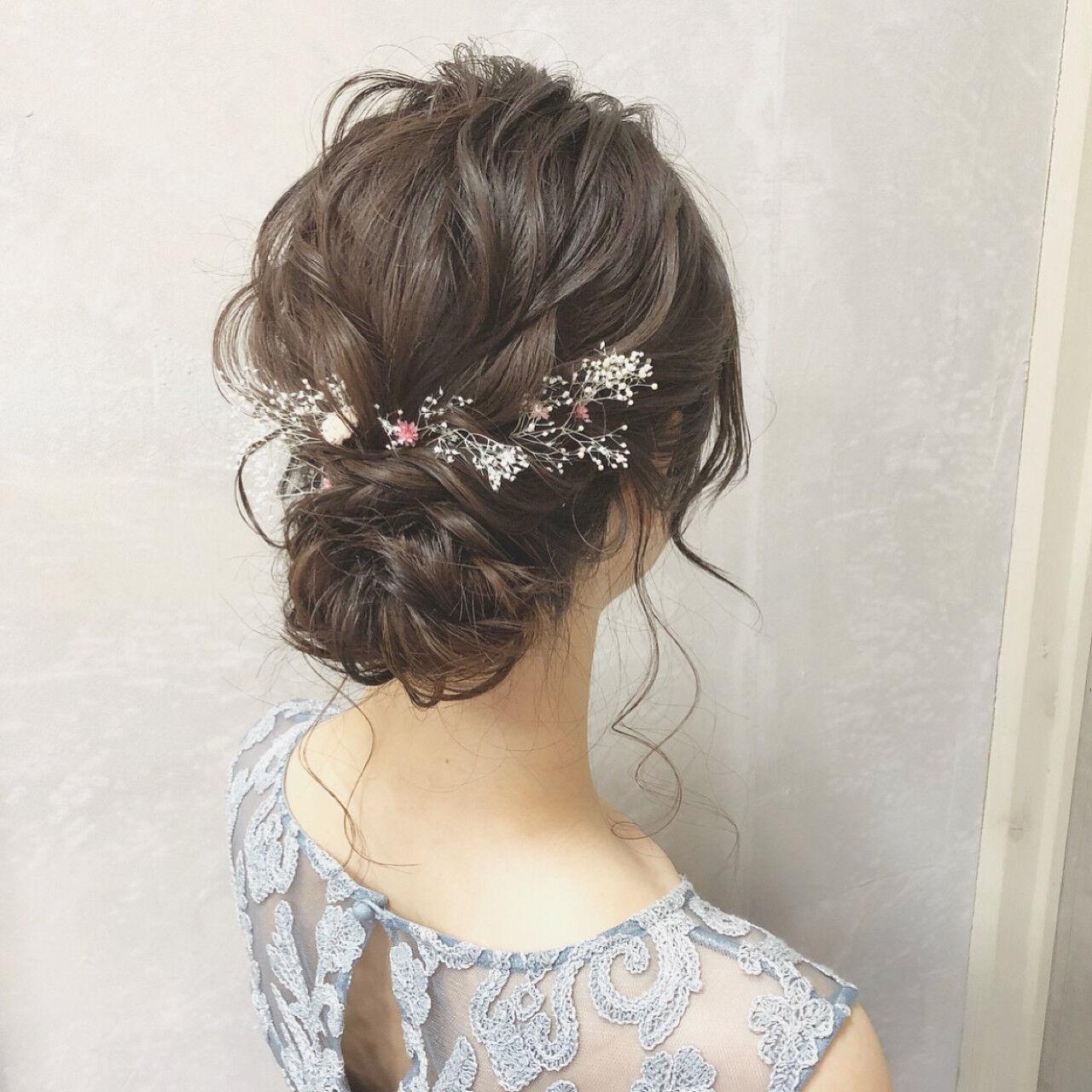 結婚式 シニヨン ヘアアレンジ 大人かわいいヘアスタイルや髪型の写真・画像