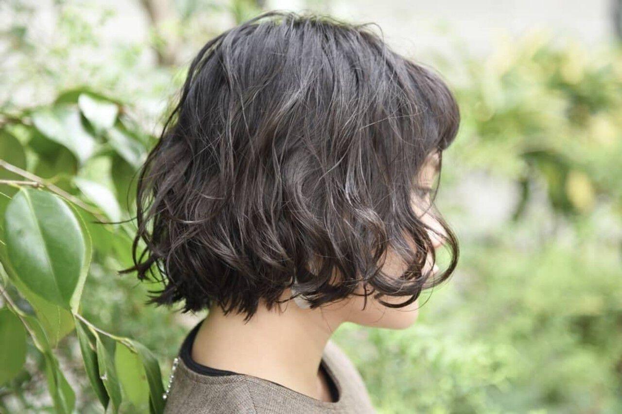 黒髪 ショートボブ パーマ ミニボブヘアスタイルや髪型の写真・画像