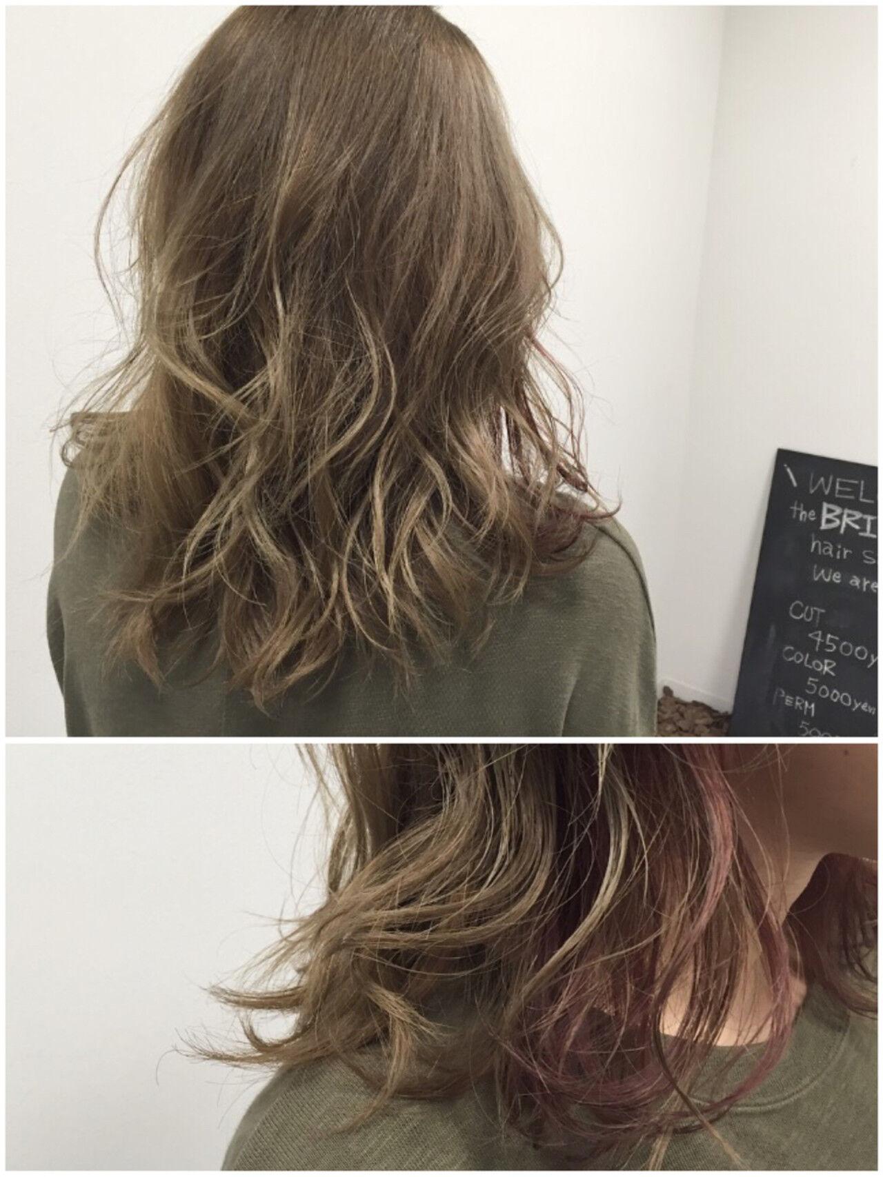 グラデーションカラー ミディアム ストリート ダブルカラーヘアスタイルや髪型の写真・画像
