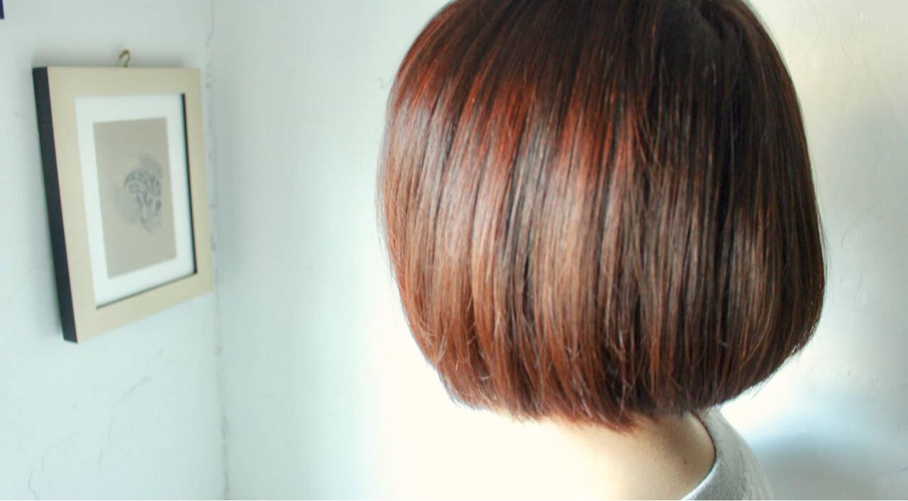 ボブ ピンク パープル ナチュラルヘアスタイルや髪型の写真・画像
