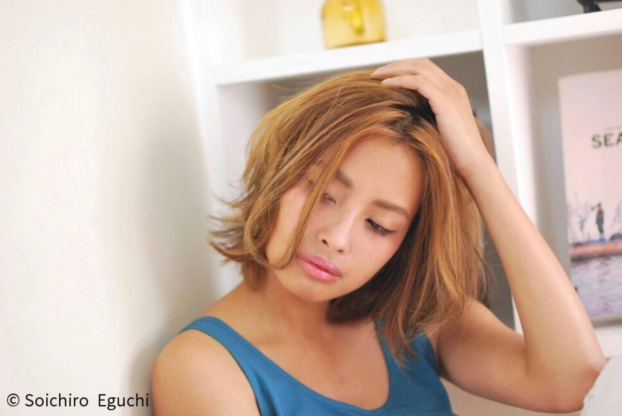 グラデーションカラー 外国人風 渋谷系 ボブヘアスタイルや髪型の写真・画像