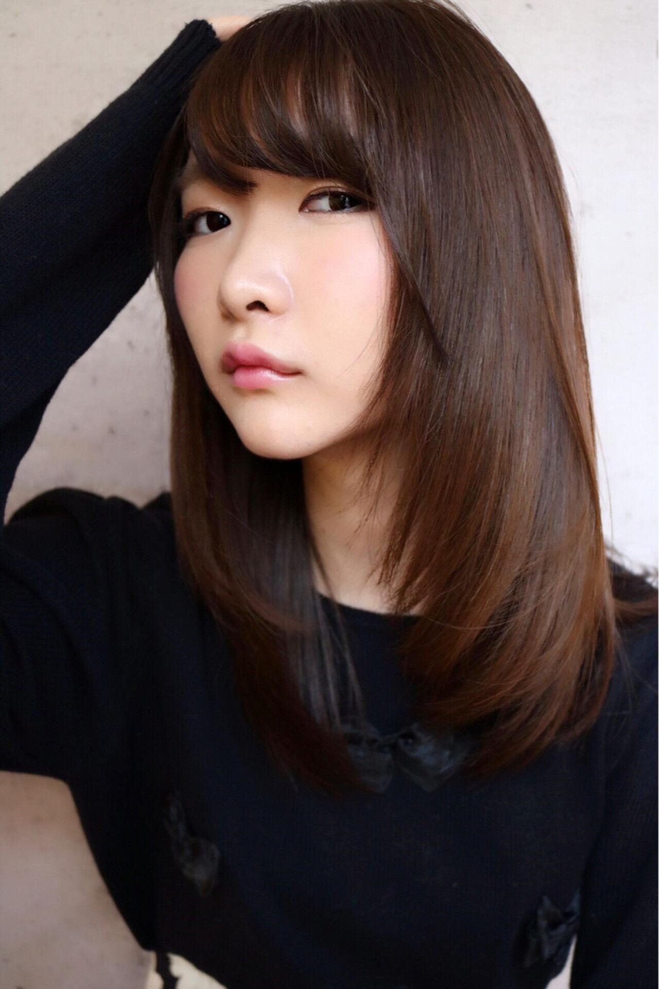 前髪あり フェミニン ナチュラル ロングヘアスタイルや髪型の写真・画像
