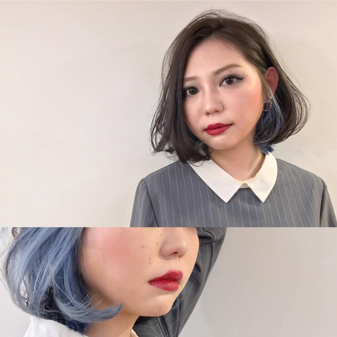 インナーカラー ナチュラル ボブ 色気ヘアスタイルや髪型の写真・画像