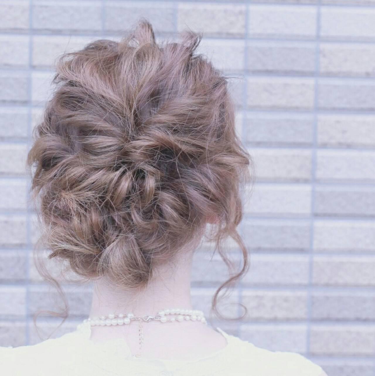 大人かわいい 簡単ヘアアレンジ ミディアム ショートヘアスタイルや髪型の写真・画像