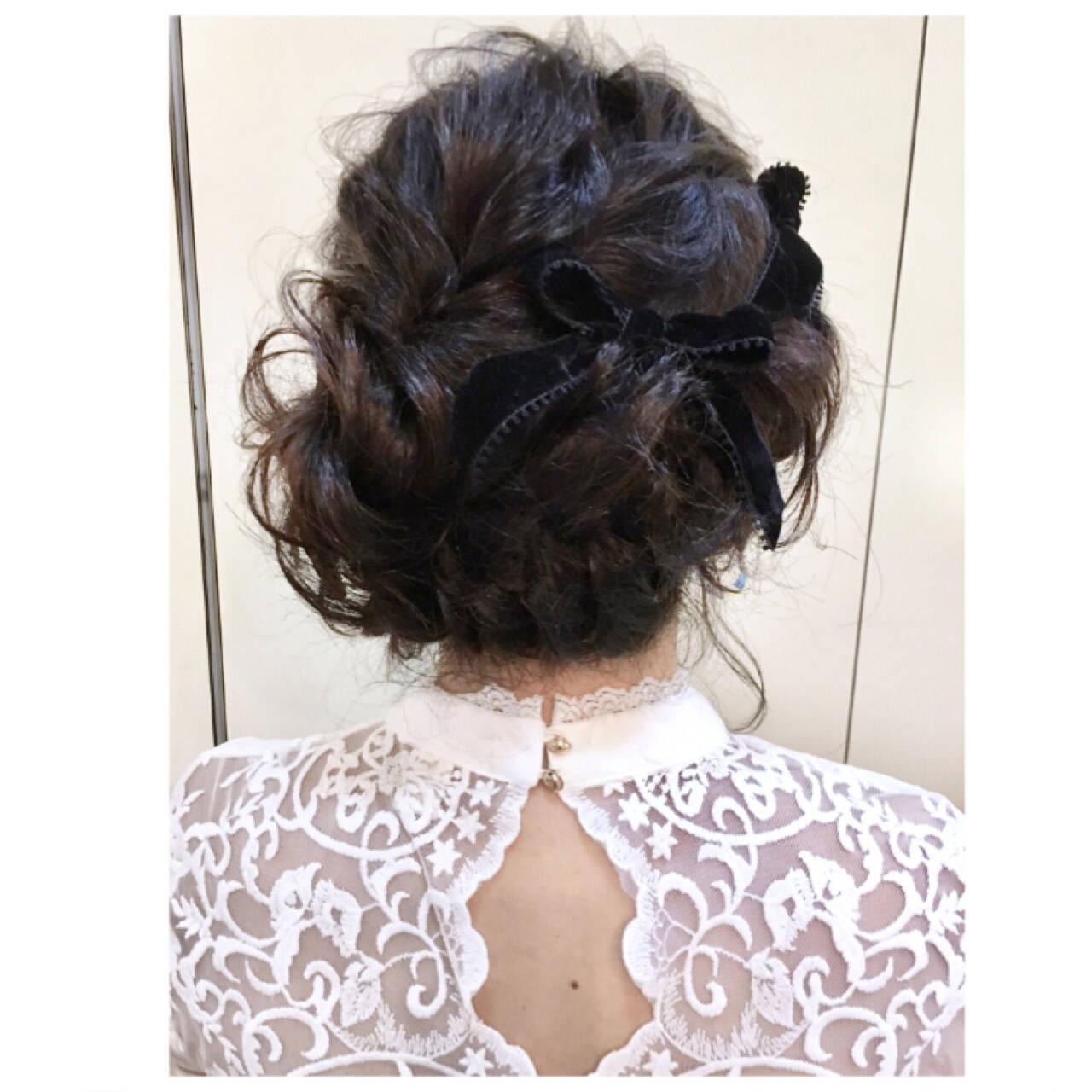 簡単ヘアアレンジ ヘアアレンジ ミディアム 編み込みヘアスタイルや髪型の写真・画像