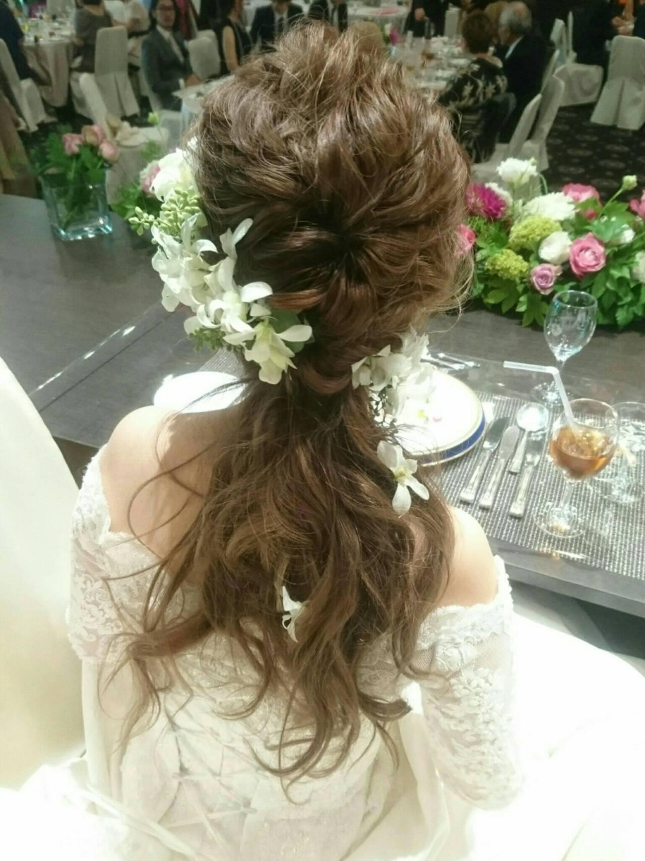 ロング 結婚式 フェミニン こなれ感ヘアスタイルや髪型の写真・画像