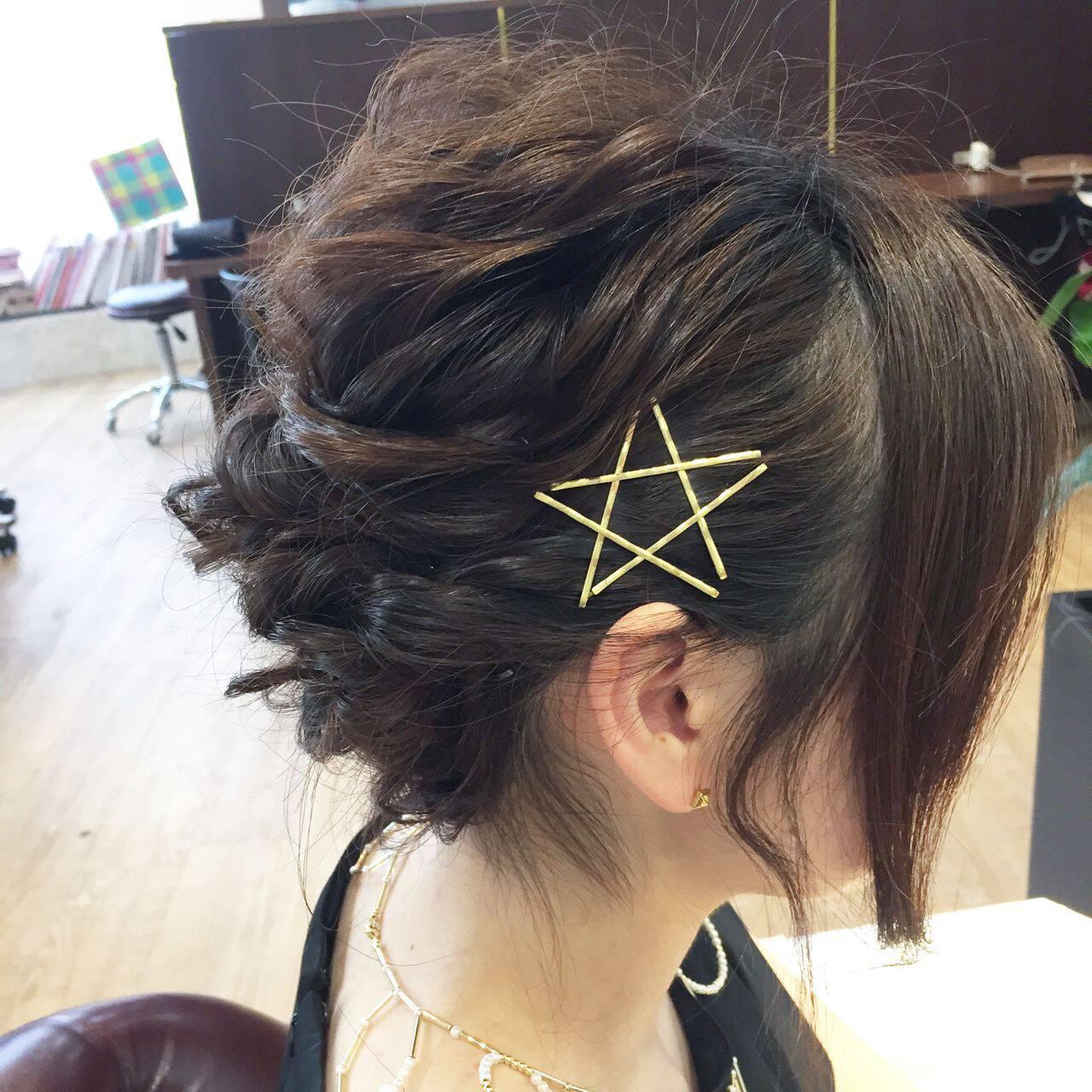 簡単ヘアアレンジ アップスタイル 結婚式 ルーズヘアスタイルや髪型の写真・画像
