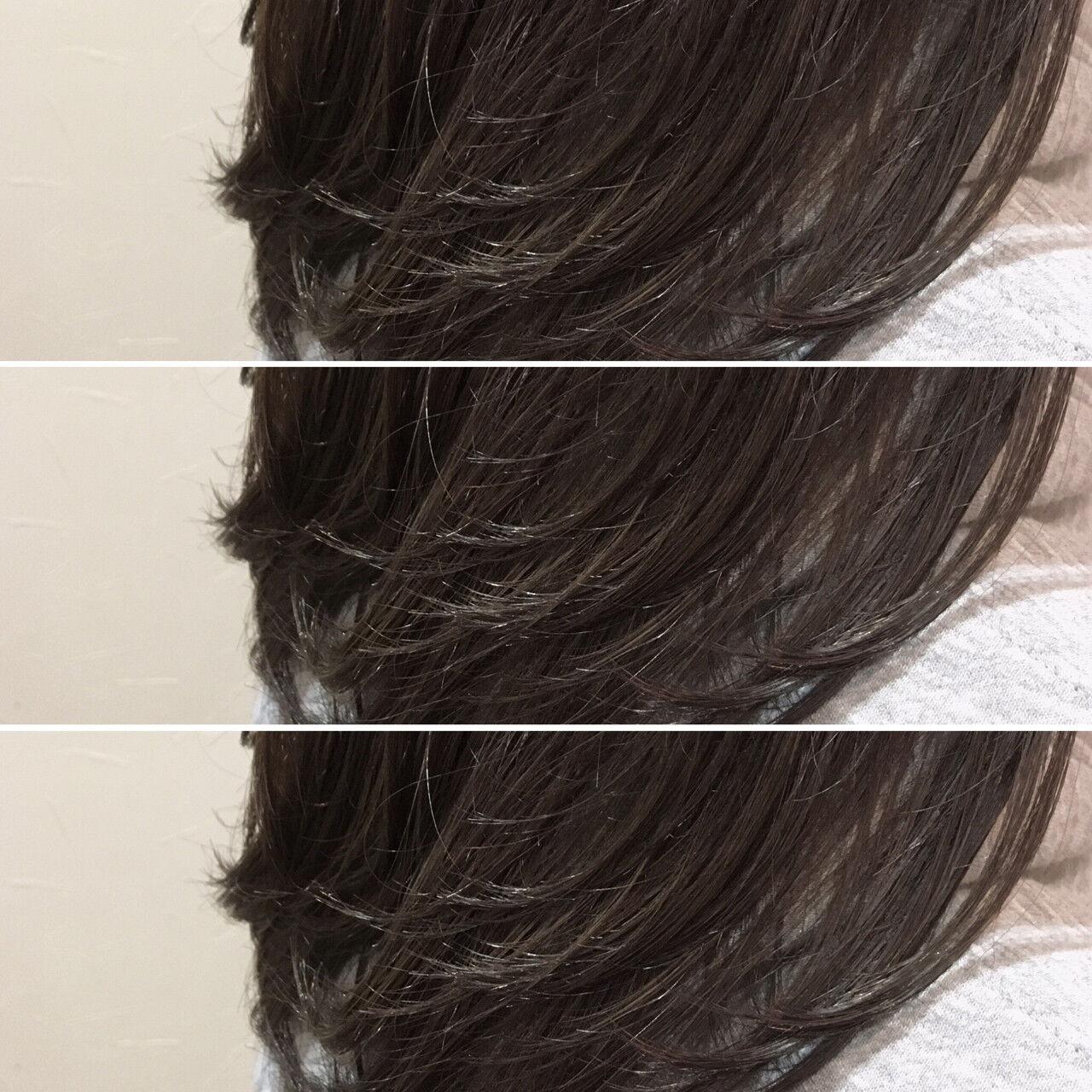 グレージュ イルミナカラー セミロング ナチュラルヘアスタイルや髪型の写真・画像