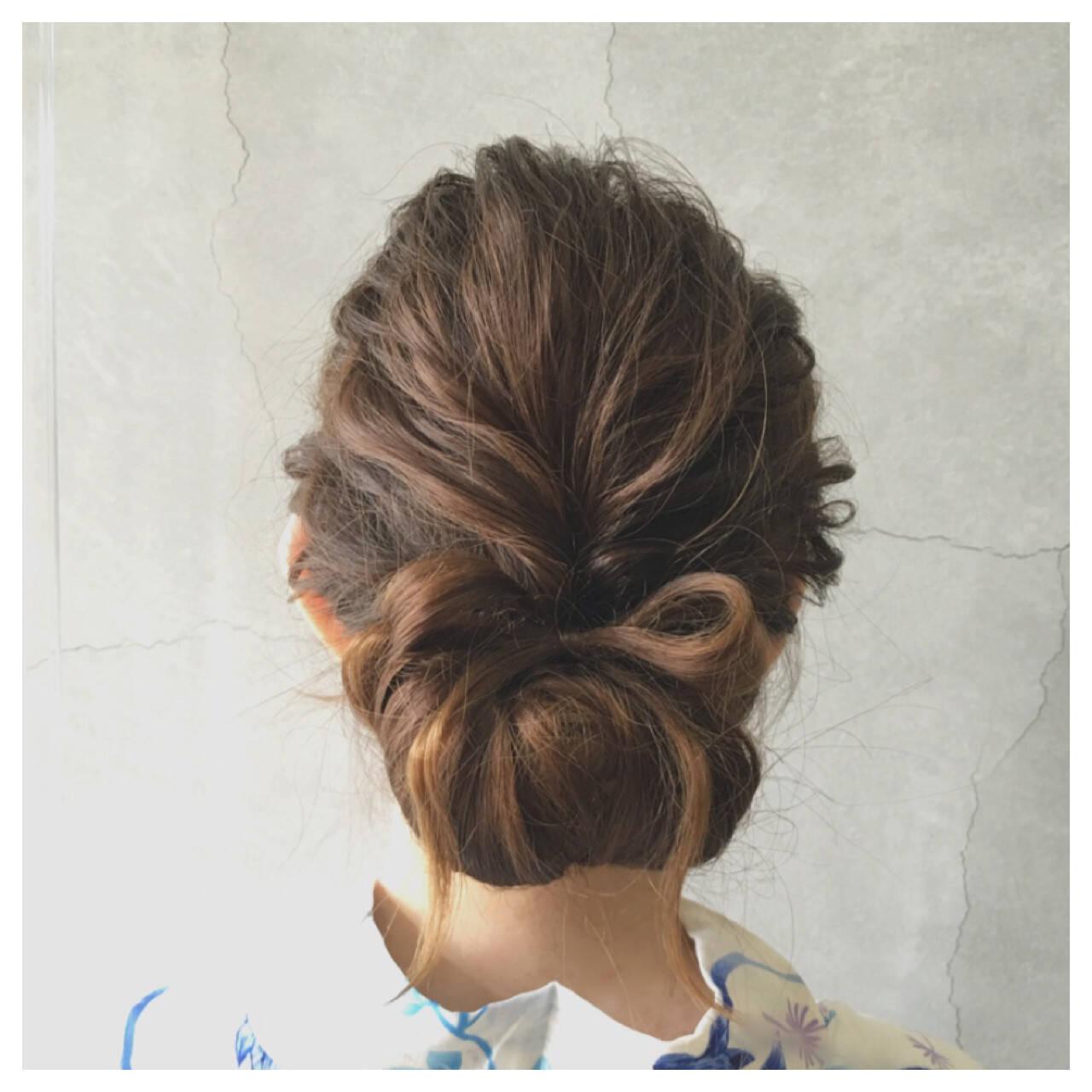 和装 夏 まとめ髪 アップスタイルヘアスタイルや髪型の写真・画像