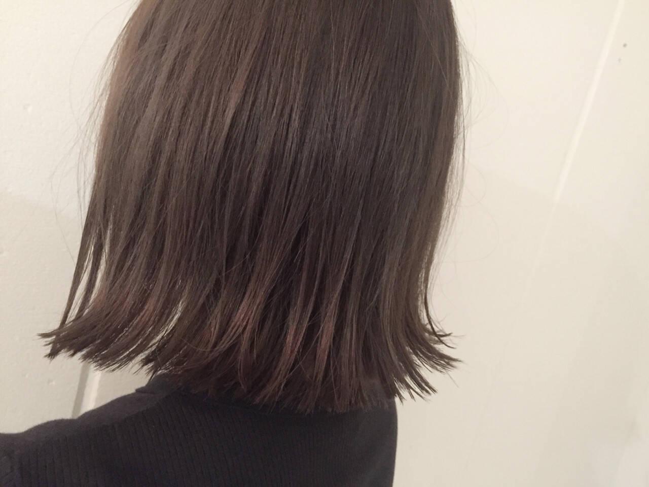 切りっぱなし 暗髪 ストリート アッシュヘアスタイルや髪型の写真・画像