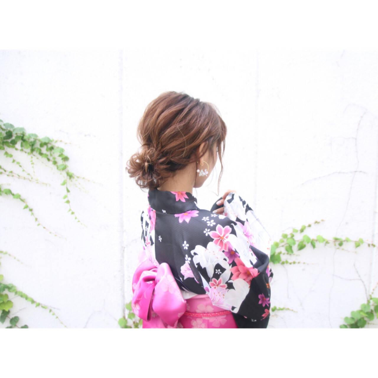 アップスタイル 花火大会 ヘアアレンジ ロングヘアスタイルや髪型の写真・画像