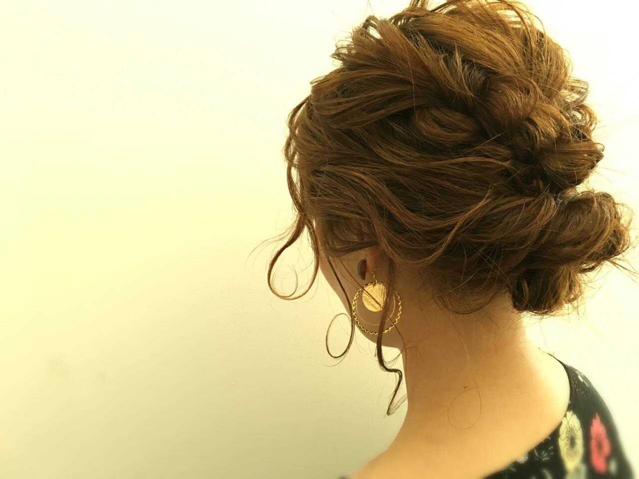 デート 女子会 ヘアアレンジ セミロングヘアスタイルや髪型の写真・画像