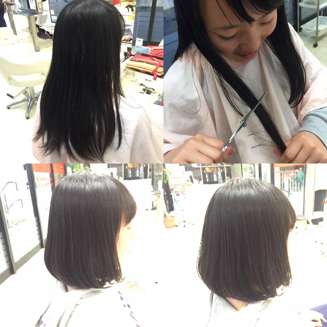 ナチュラル 黒髪 ボブヘアスタイルや髪型の写真・画像