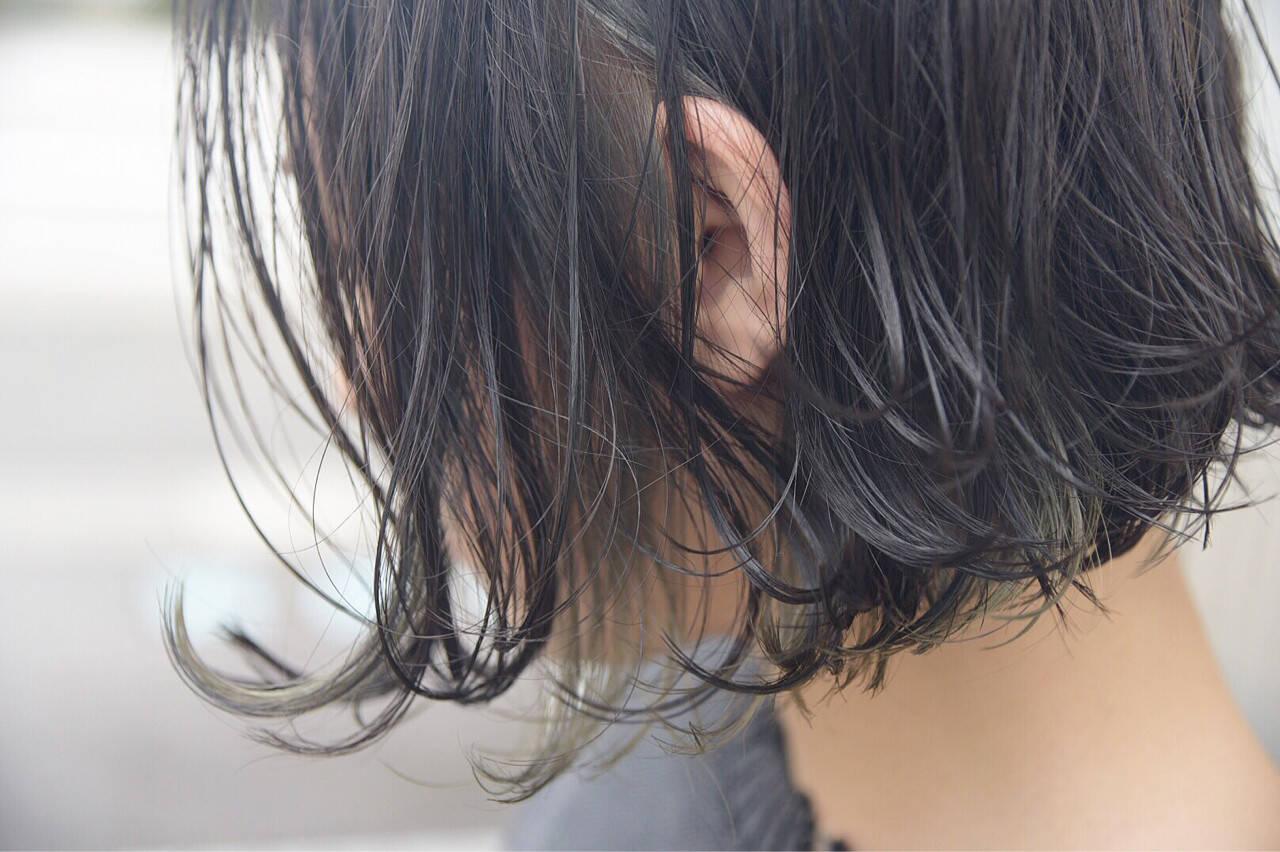ストリート ボブ ブリーチ インナーカラーヘアスタイルや髪型の写真・画像