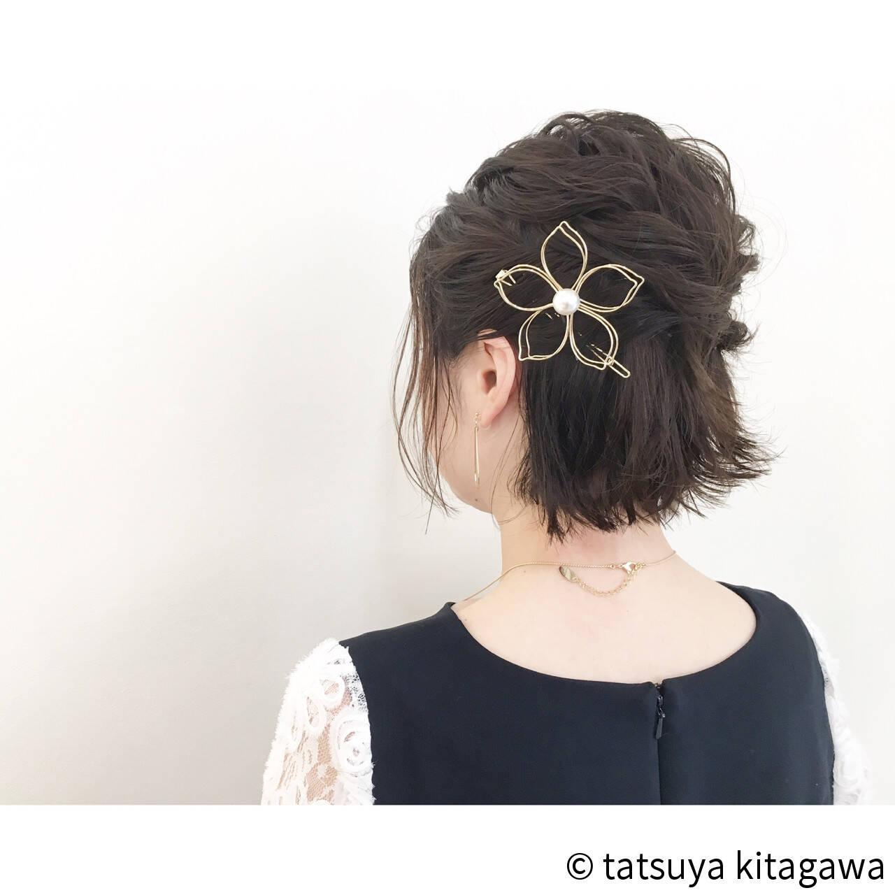 黒髪 結婚式 ボブ ハーフアップヘアスタイルや髪型の写真・画像