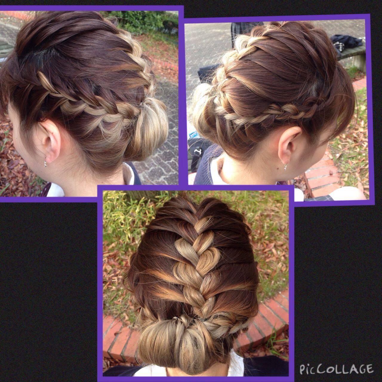 編み込み アップスタイル ミディアム ギブソンタックヘアスタイルや髪型の写真・画像