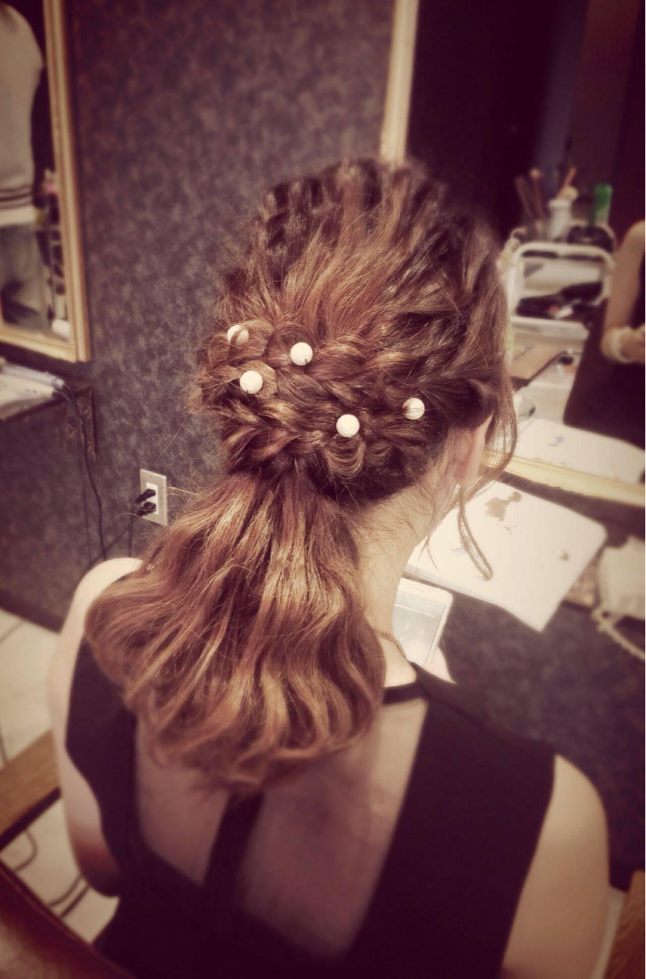 コンサバ ヘアアレンジ 結婚式 ミディアムヘアスタイルや髪型の写真・画像