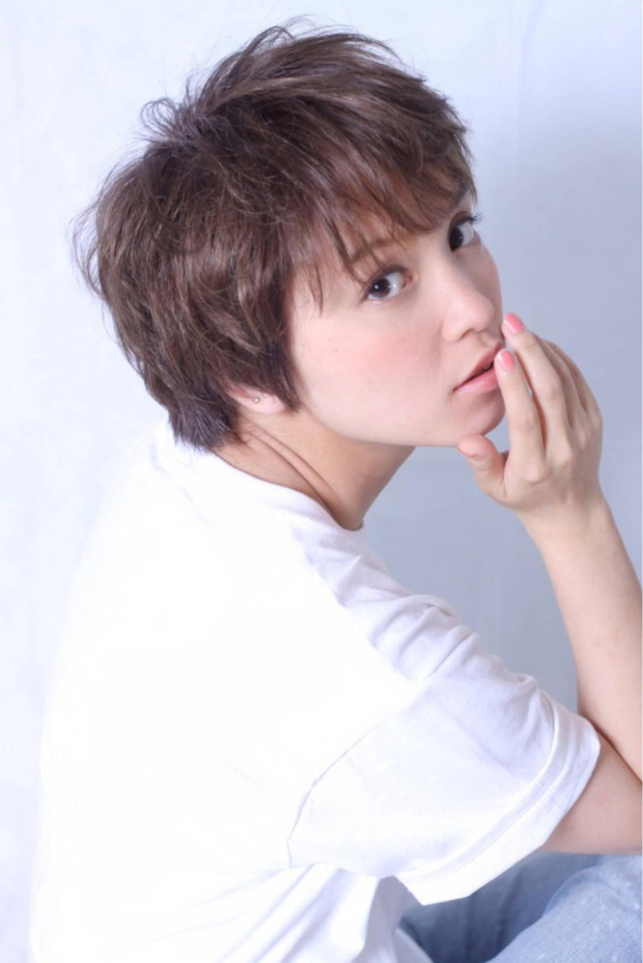 モテ髪 愛され 外国人風 ショートヘアスタイルや髪型の写真・画像