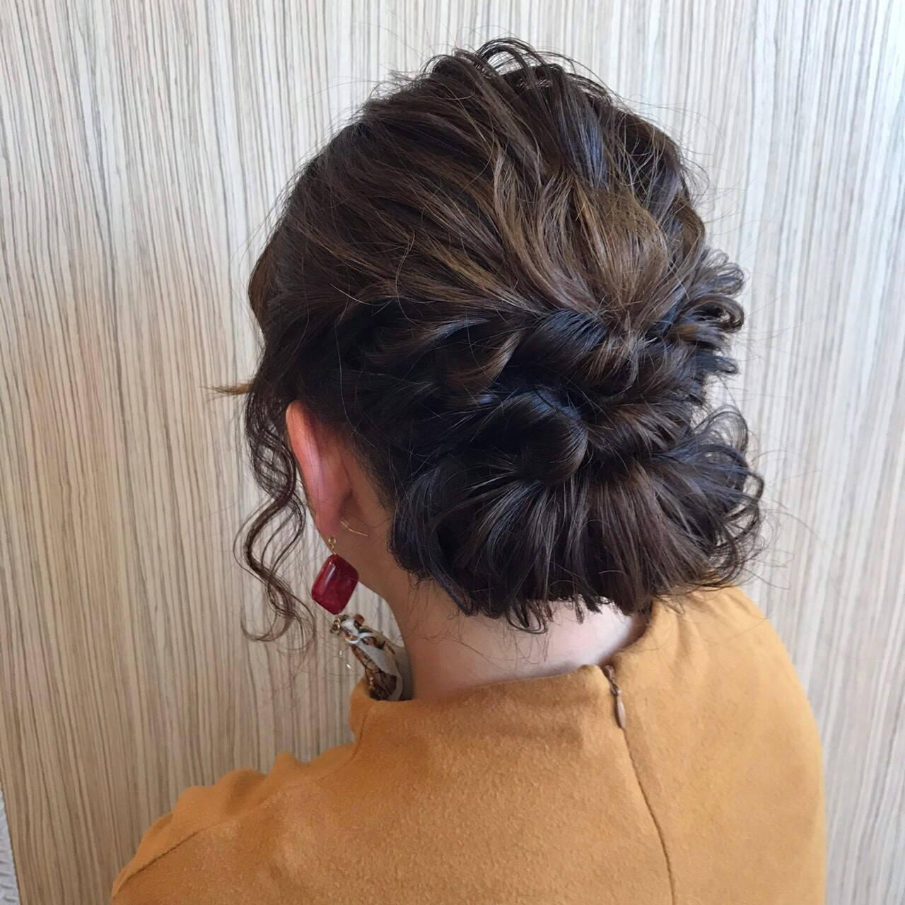 波ウェーブ ミディアム 上品 パーティヘアスタイルや髪型の写真・画像